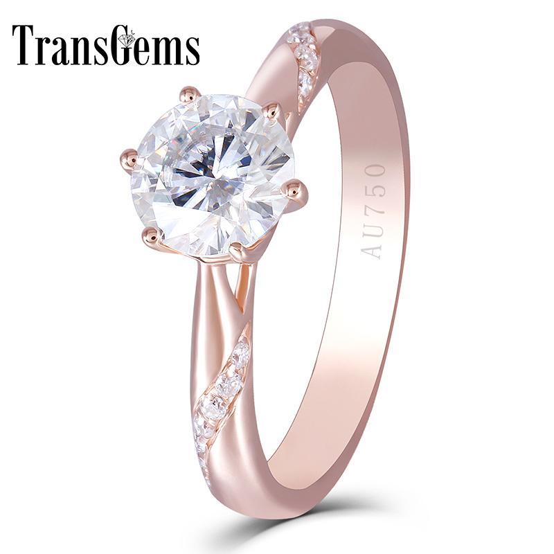 Золотой центр 1ct Роза Enagement кольцо для женщин 14 K розовое золото 1 карат 6,5 мм F цвет Moissanite Алмаз с акцентами S923