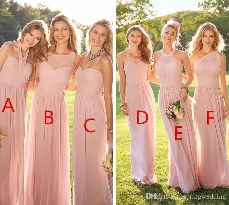 2019 펄 핑크 저렴한 긴 레이스 쉬폰 신부 들러리 드레스 혼합 스타일 블러쉬 컨트리 공식 무 댄스 파티 드레스 프릴 맞춤 된 BM0172