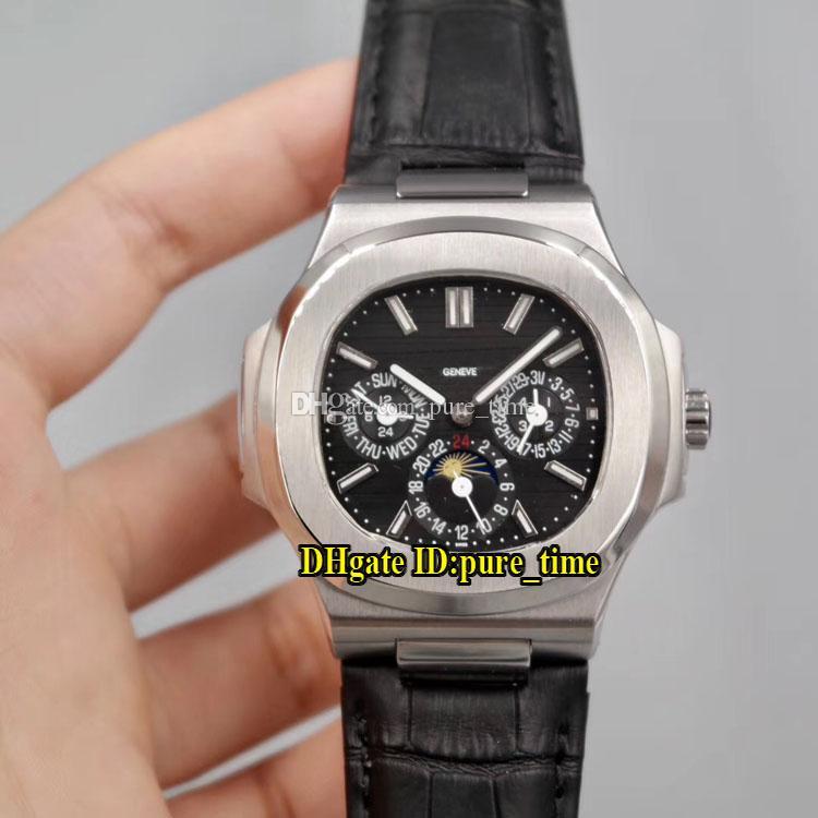 Sport Nautilus Cadran Noir Automatique 5740 / 1G-001 Phase de Lune Mens Watch 316L Boîtier en acier bracelet en caoutchouc noir Gents Sport Montres pure_time
