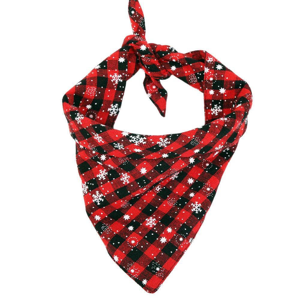 Cotton Christmas Pet Accessories Dog Triangular Bandage Scarf Fashion Pet Bandana Towel Puppy Teddy Bib Neckerchief