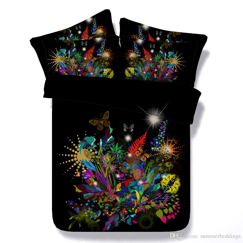 3D galaxy Duvet Cover bedding sets queen floral Bedspreads Holiday Quilt Covers Bed Linen Pillow Covers butterfly rose yellow blue red