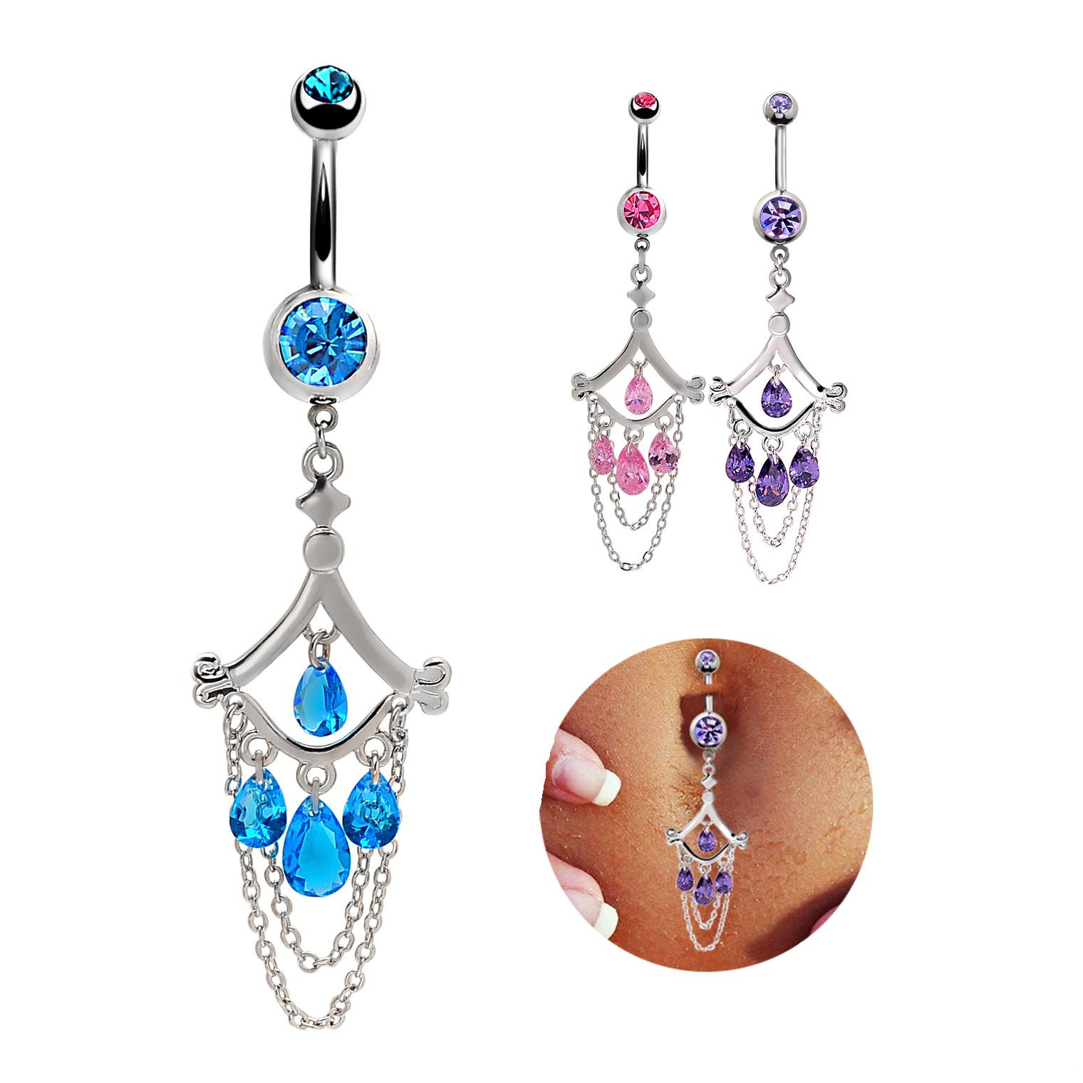Wholesale European and American body piercing, belly button, belly dancing, ornament, exaggerated umbilical decoration