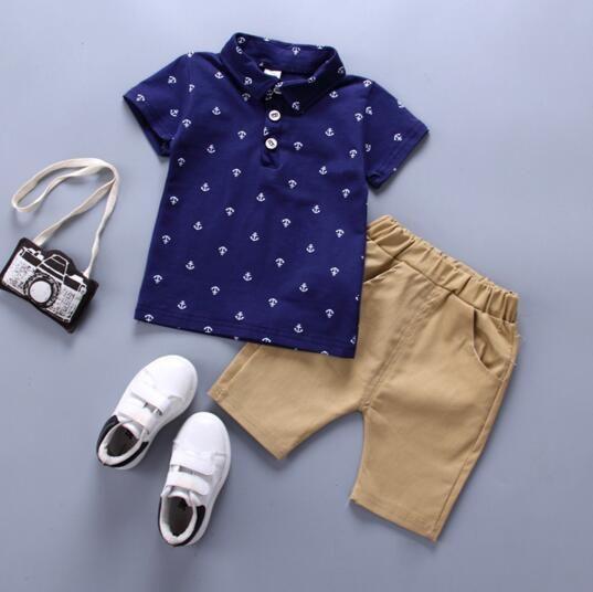 Мальчик детская одежда мальчик летние наборы судно якорь печать поворотный воротник с коротким рукавом футболка + короткие наборы летний мальчик одежды