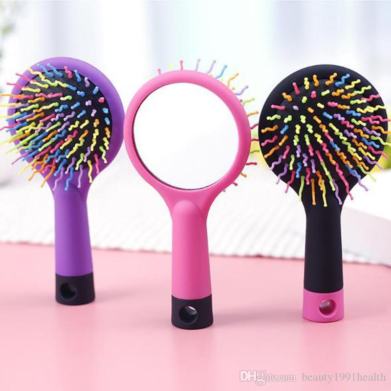 Neue bewegliche Regenbogen-Band Anti-Statik-magisches Haar Locke Gerade Massage-Kamm Friseur Bürste mit Spiegel Haar Styling Werkzeugen