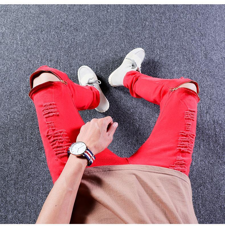 Mode Hommes Jeans Ripped trous Salut -Street tirettes design pantalons longs Homme Jeans vélo Pantalons Crayon