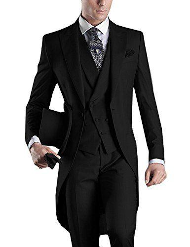 Costume de mariage pour homme Custom Made 2018 Matin Long Jacket Tailcoat 3 Pièces Homme Slim Fit Costume Groom Noir Tuxedo Costume Marié