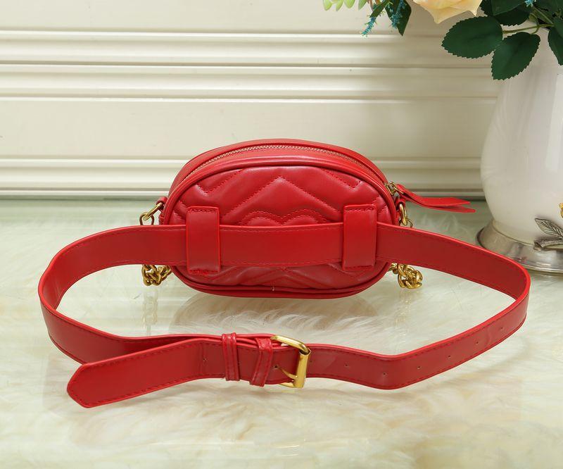 Novas mulheres cadeia Designer de Cintura Sacos de Bolsas da Senhora Cinto feminino único ombro messenger bags preto / vermelho / cor branca no38