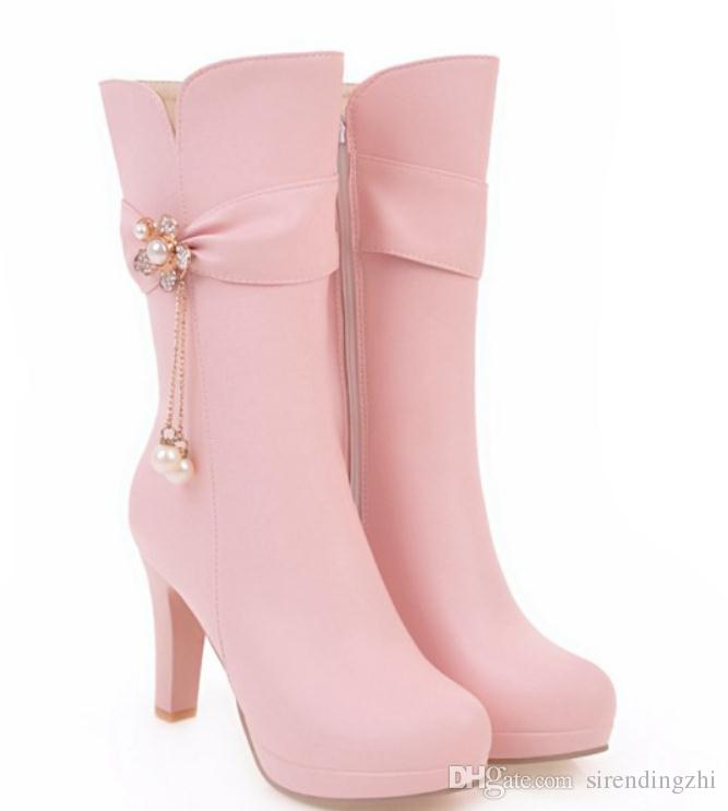 Envío gratis 2018 otoño invierno de tacón alto botas de barril Medio grueso talón a prueba de agua mesa mujeres botas Martin