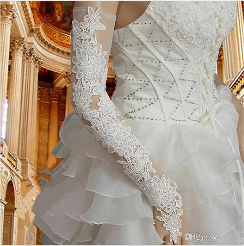 New Fashion Long Bridal Gloves Wedding Banquet Ceremony Glove High Grade Lace Hollow Out Full Dress Decor Mitten 12ys Y