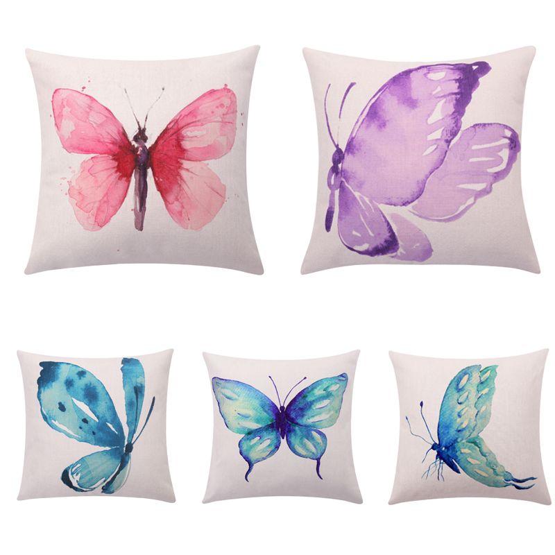 Borboleta aquarela Capas de Almofada Turquesa Decorativa Fronhas Swallowtail Borboleta Throw Pillow Covers Sofá Decoração Da Casa