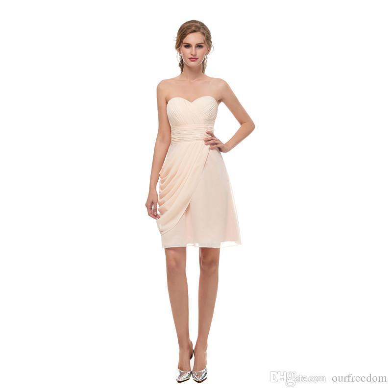 Sous 50 $ 2019 pas cher Mini-bal short robes de mer de mousseline en mousseline en mousseline de chérie plissée robes de retour au cou en stock 2-16 Fête robe de cocktail