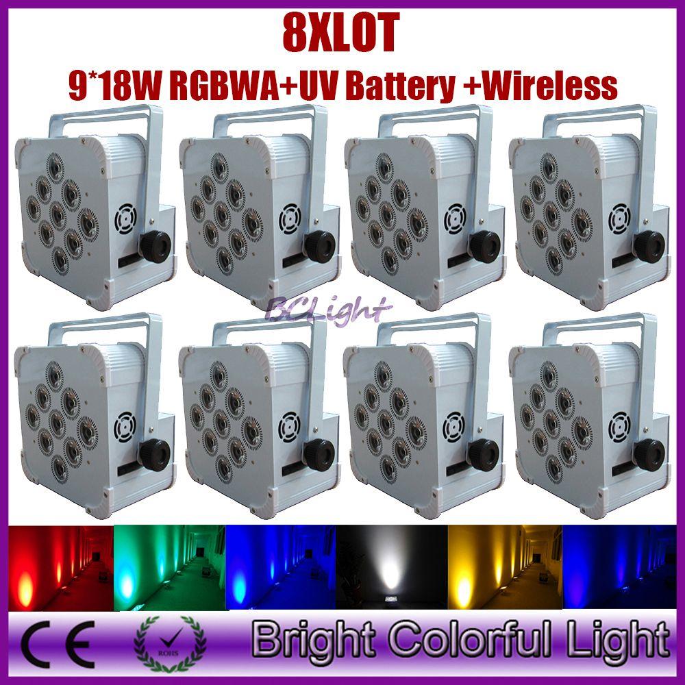 8XLot HOT SALE High Brightness 9 * 18W 6in1 RGBAW UV Battery Powered Wireless LED Par Light Wireless DMX 512 led wash up light