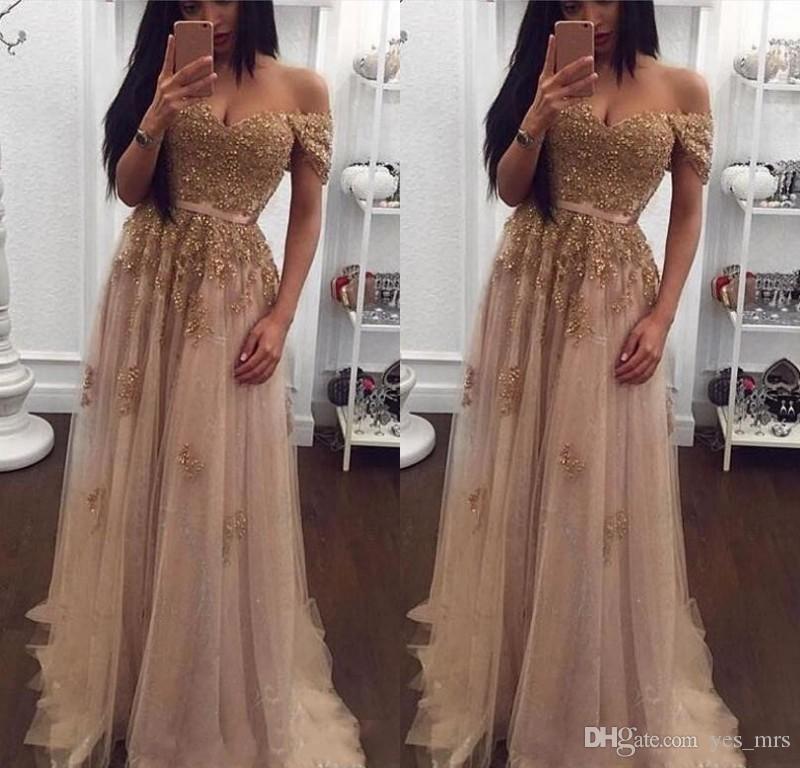 2020 Champagne rendas frisado árabes vestidos de noite desgaste Alças Sweetheart A linha Tule Prom Dresses Vintage baratos vestidos de festa formal