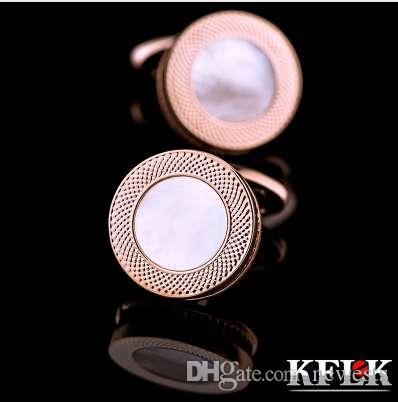KFLK French Shirt Shell Boutons de Manchette pour Hommes Marque Boutons de Manchette Bouton Rose Or Couleur Haute Qualité Livraison Gratuite 2018 Nouvelle Arrivée