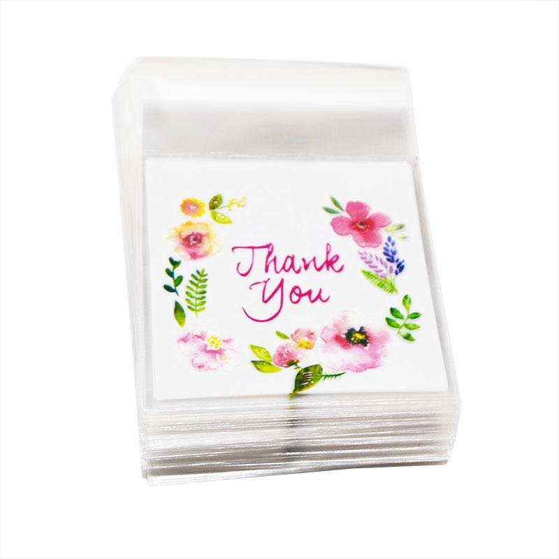 50/100cs Flower Pattern Thank you Cookie Packaging Bags 7x7cm Small Gift Bag Self Adhesive Plastic Bags Wedding Candy Bag