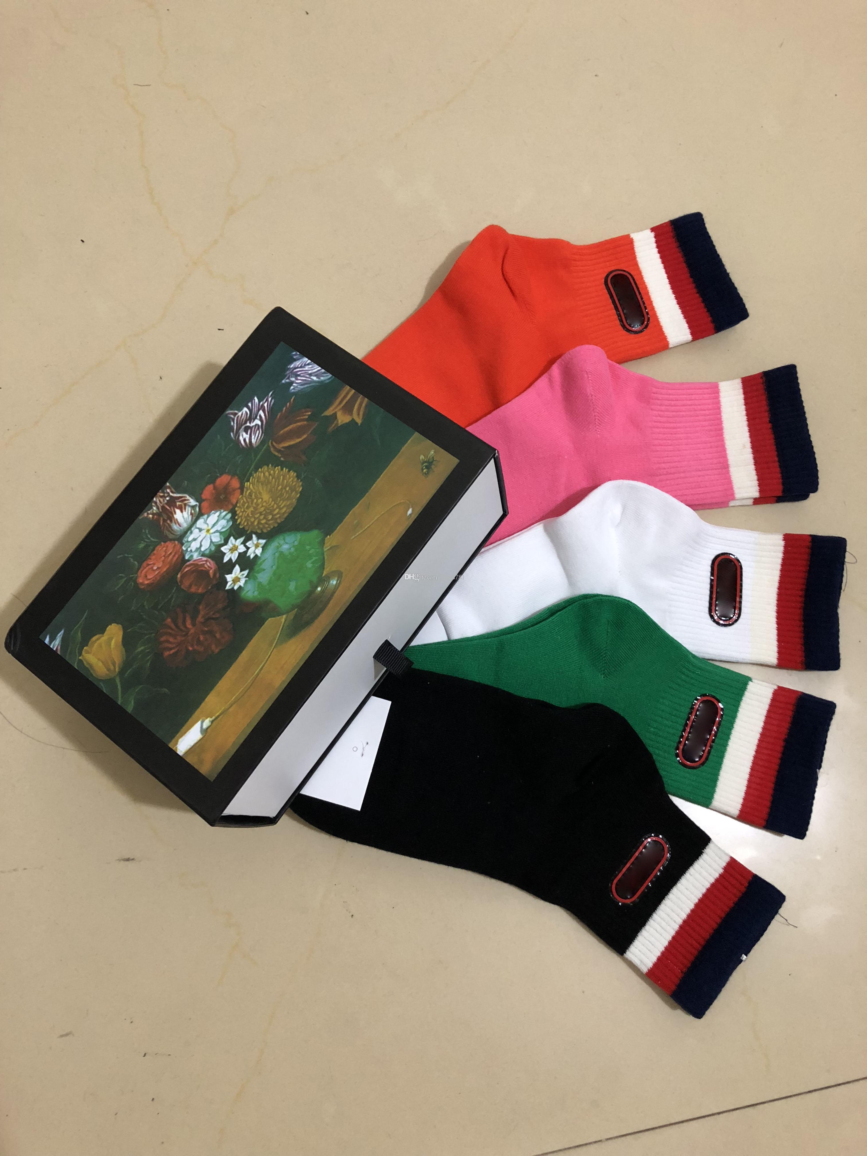 New 5 pairs ace Socks Antibacterial Deodorant designer brand Cotton Fashion Unisex brand Socks Sport 5 color pink luxury designer socks