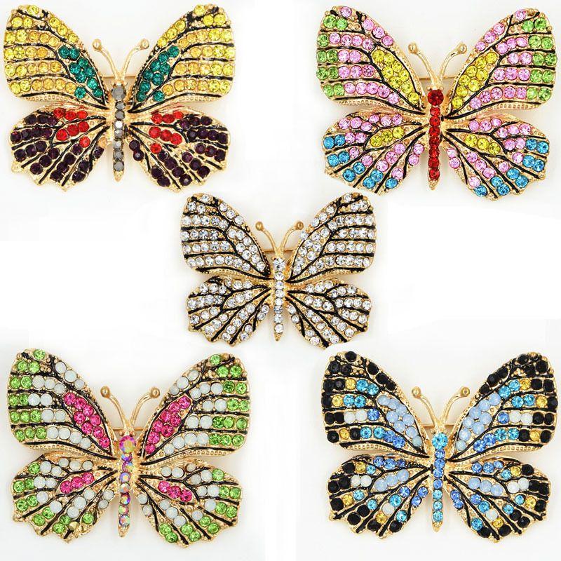 Splendida cristalli multicolor bella farfalla spilla vendita calda donne eleganti da sposa bouquet da sposa Pin Lady scarf pins