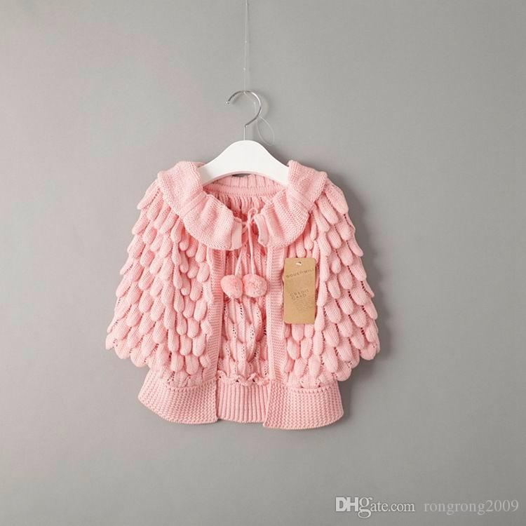 Wiosna Jesień Nowa Dziewczyna Scargan Dzieci Ubrania Bat Sleeve Ananas Dzianie Wełny Sweter Płaszcz E13404