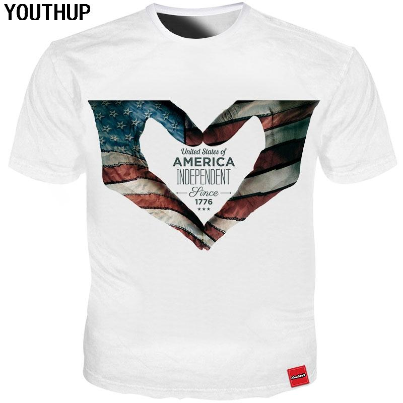 YOUTHUP 2018 New Design T Shirt For Men American Flag Heart 3d Print Independence Day Men T Shirt Tops Plus Size Cool Tees