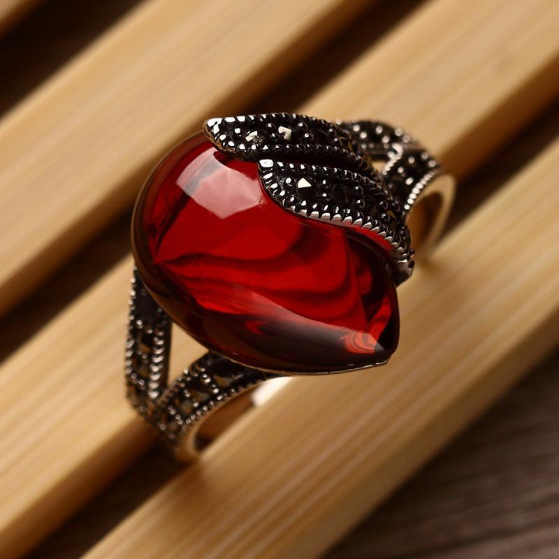 الأحجار شبه الكريمة الطبيعية العقيق 925 فضة خواتم الياقوت الأحمر الرجعية أزياء سيدة خاصة النساء عشاق المجوهرات هدية