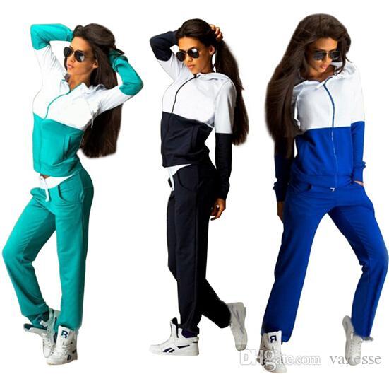 Kadın Eşofman Spor Suits Sweatshirt ve Pantolon 2 Adet Set Kadın Gym Fitness cappa Koşu Takım Elbise Bayanlar Giyim