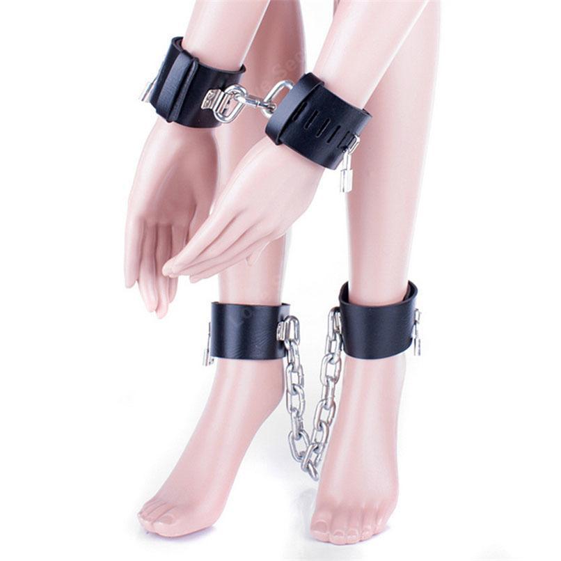 Schwermetallkette PU Leder Handfesseln Beinfesseln Set Erotikspiele Sexspielzeug Sklavenfetisch Bondage Fesseln Handgelenk Fußfesseln
