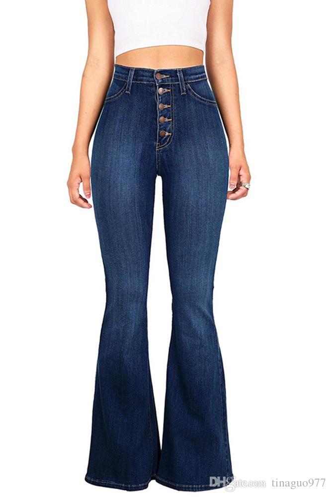 23eb39336dab8 Bell Bottom Women Jeans Jeans taille haute Jeans Jeans à boutonnière  boutonnée Pantalon évasé ...