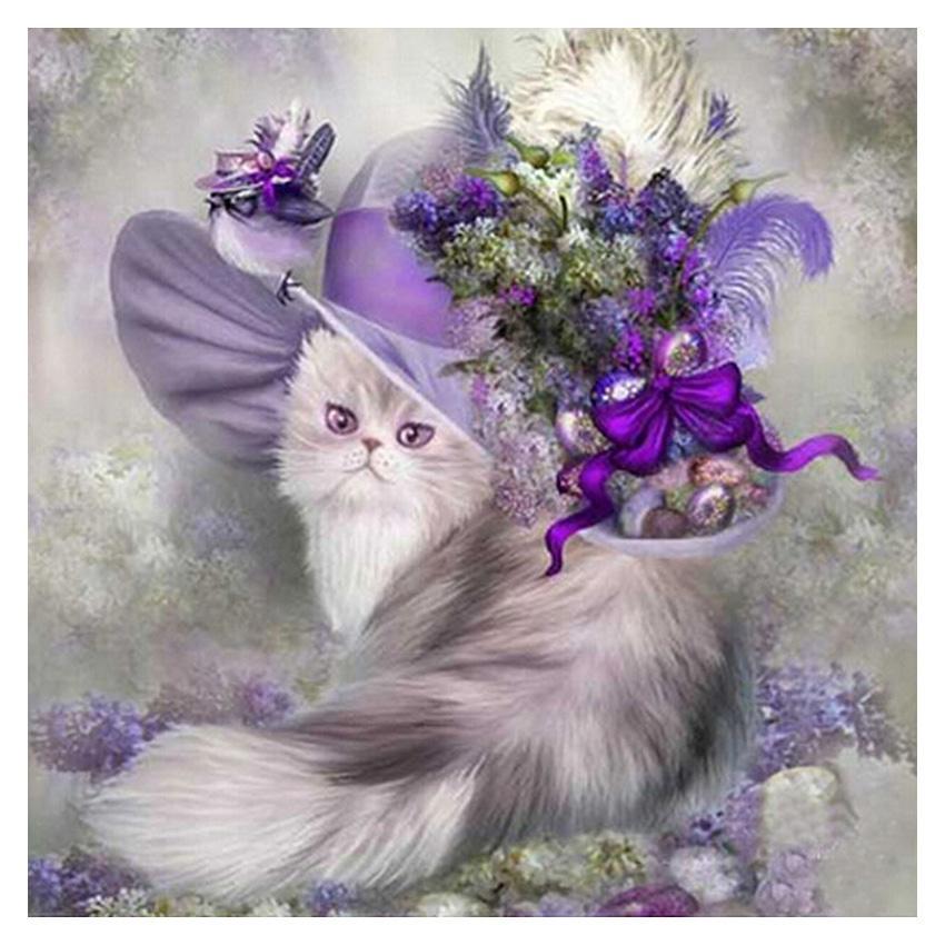 New 5D pittura diamante viola copricapo carino gatto soggiorno camera da letto decorazione
