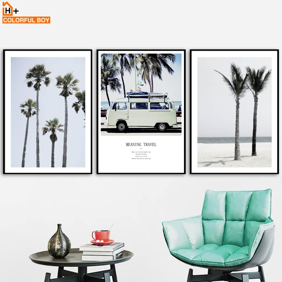 COLORFULBOY Wall Art Canvas Painting Vintage Car Coast Nordic Posters And Prints Art Canvas Pictures For Living Room Decor