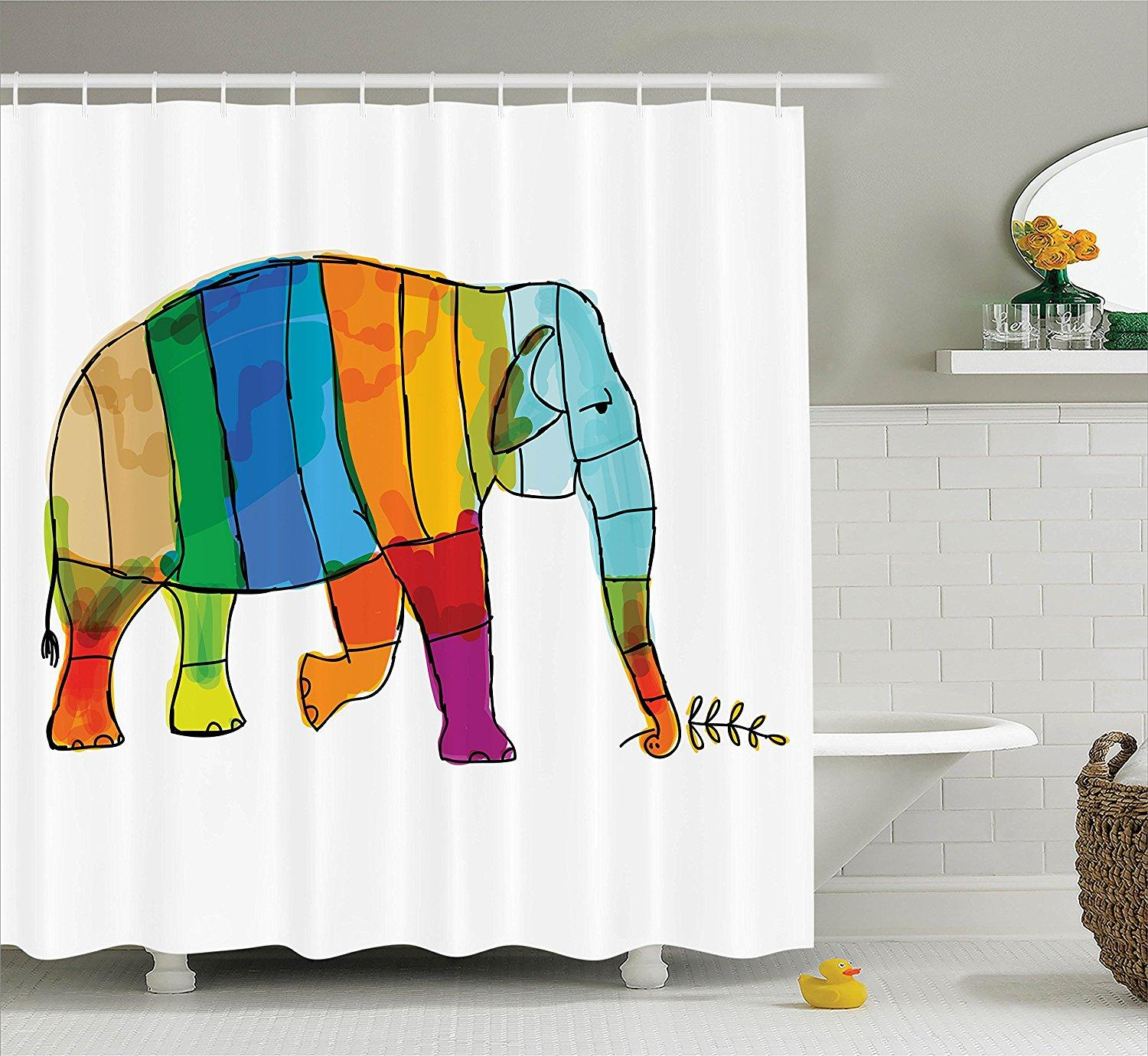 Ful Striped Big Elephant African Life Symbol Large Mammal Family Illustration Polyester Fabric Bathroom Shower Curtain From Sophine11 44 03