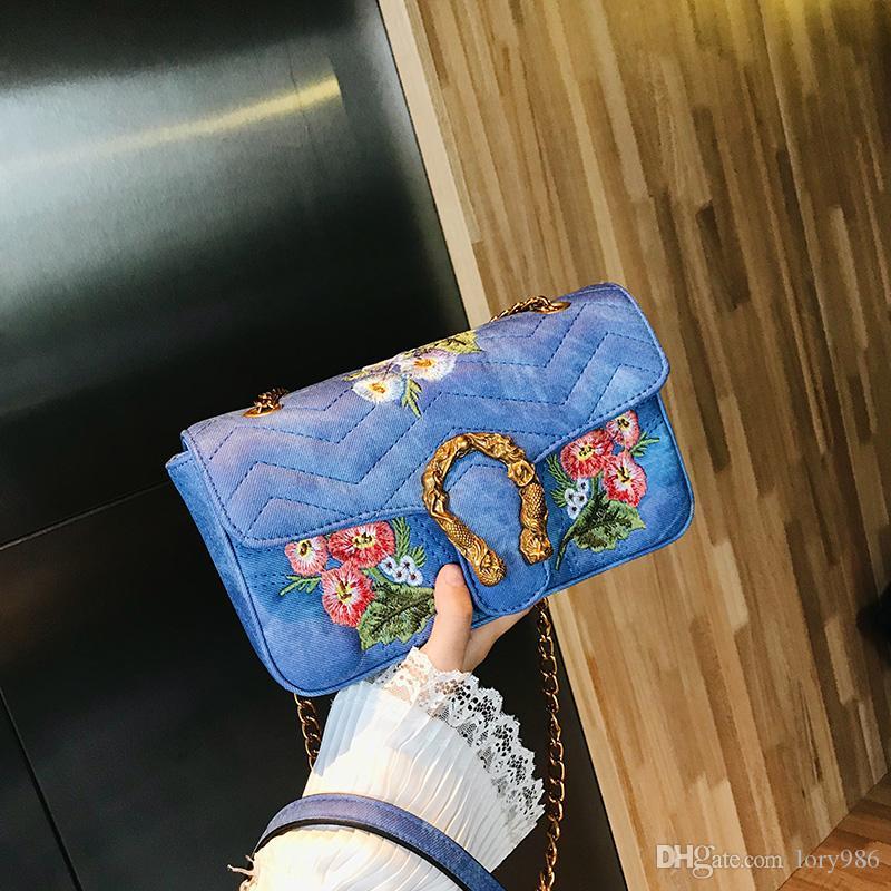 Nuevo Estilo Bordado Bolsas de Flores Bolsas de Hombro Bolsas de cuerpo cruzado de Una Sola Tira de Bolsos Para Las Mujeres Xiaoyingtao // 8