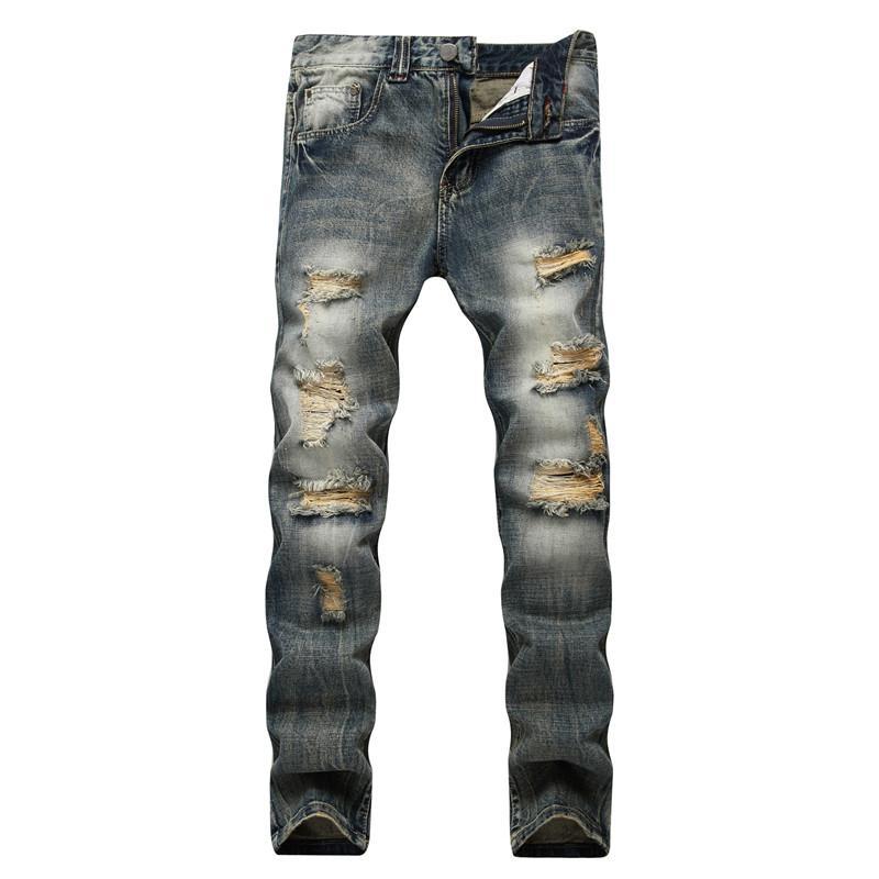 2018 Erkekler Sıkıntılı Yırtık Skinny Jeans Slim Fit Motosiklet Moto Biker Jeans Elastik Denim Hip hop Punk Erkekler Için