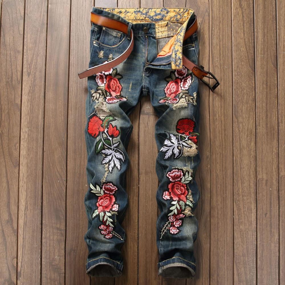 Broderie florale hommes trou jeans punk rock affligé minces pantalons en denim de motards hommes harajuku garçons personnalité déchiré jeans