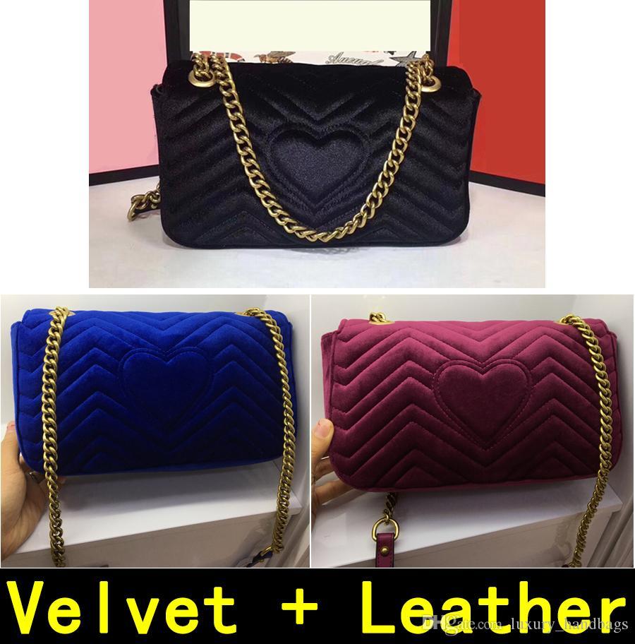 Marmont Umhängetaschen 443497 Samt + Leder Herbst Winter Stil Handtaschen Hohe Qualität Original Seide Futter Handtasche 446744