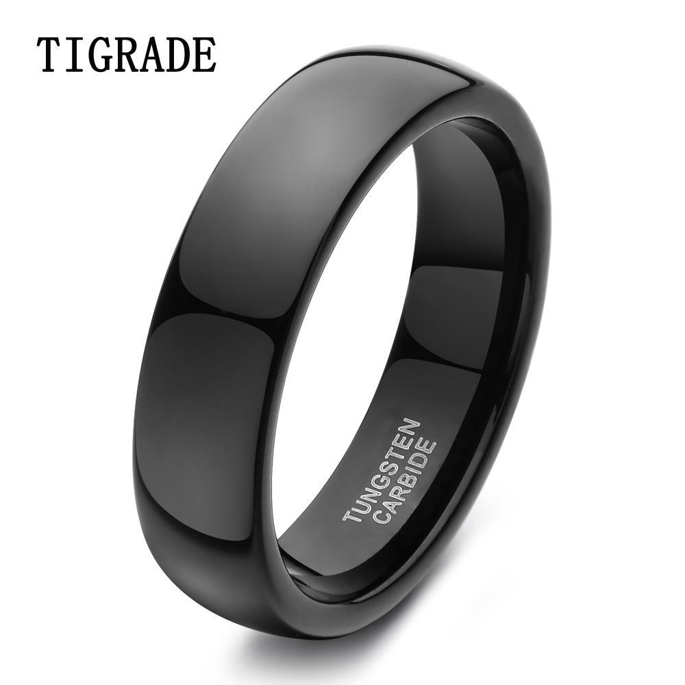 TIGRADE 6 мм черный мужской полированный карбида вольфрама обручальное кольцо обручальное кольцо палец ювелирные изделия для женщин унисекс L18100903