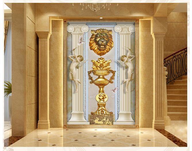 Papel tapiz fotográfico 3D de alta calidad Estereoscópico 3D tridimensional dorado copa león arte creativo porche Personalidad Mural Wallpap