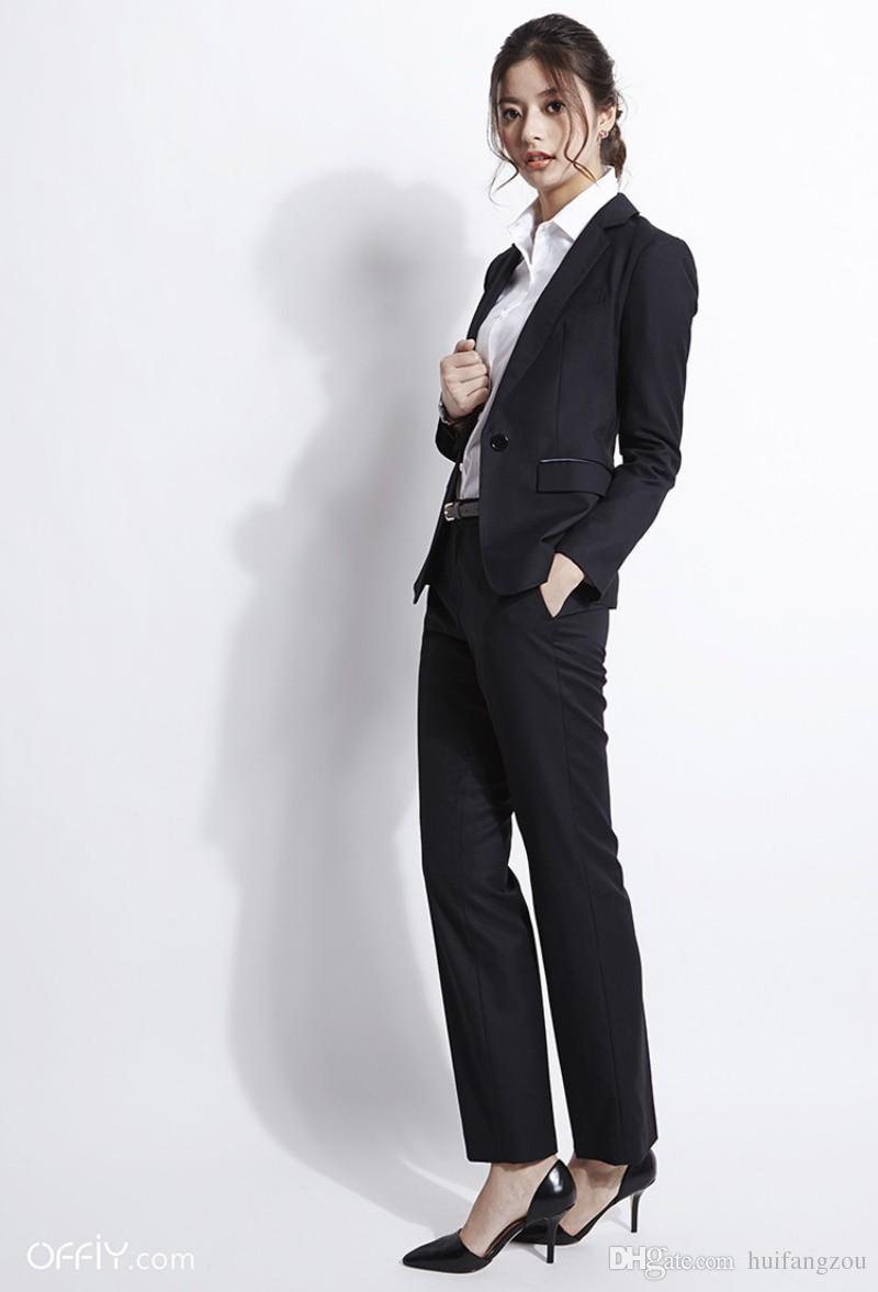 Elegant Black Formal Women Suit Two Pieces (Jacket+Pants) Career ...