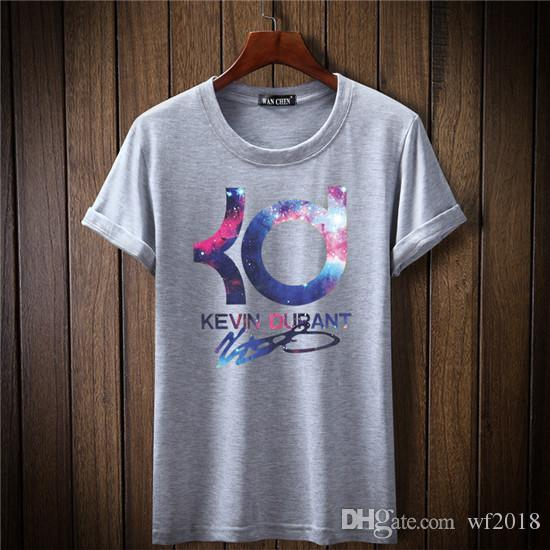 Men T shirts Shorts Sleeve Tops Tees Brand Kevin Durant KD Basketball Casual Cartoon Q Printing Tshirts For Man