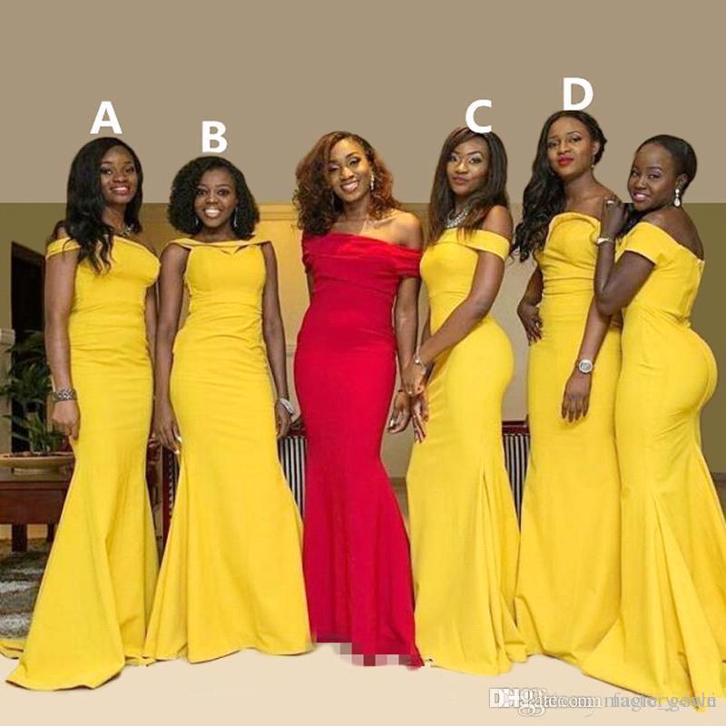 Плюс размер африканских нигерийских желтых 2019 дешевые русалки невесты платья с плеча атлас вечернее платья горничная честь платье Vestidos