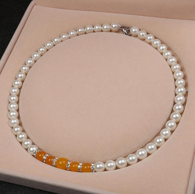 8mm Natural Shell Perlenkette Achat Cluster Perlenkette 18 Zoll 925 Silber Verschluss