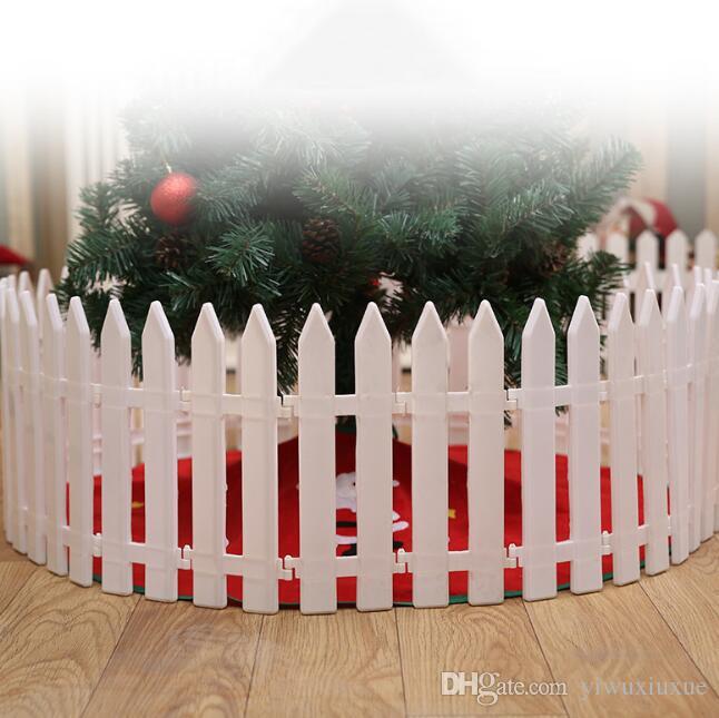 Choinka Biały Plastikowy Ogrodzenie Xmas Sklep Domowy Ogród Scena Decora Ornament Ogrodzenie Ochronne Dla Choinki