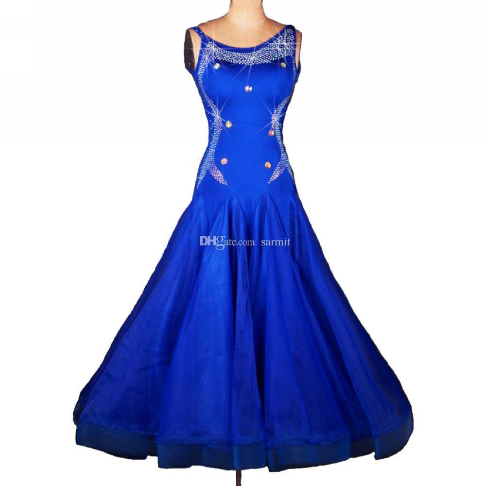 Luxury Standard Dance Dresses Ballroom Dance Competition Dresses D238 Dancing Dress Blue Strap Shoulder Rhinestones Waltz Tango Dress