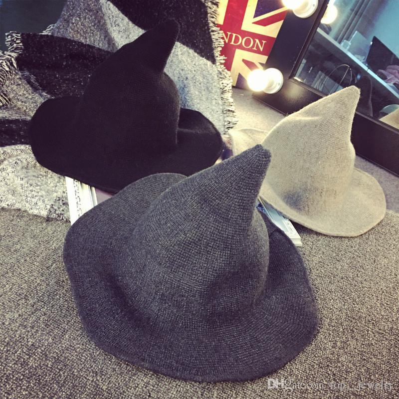 Cool Special Offer Promotion Cloche Camel Black Korean Witch Steeple Wool Hat Version Autumn Winter Children Knitted Wizard Fisherman Bonnet