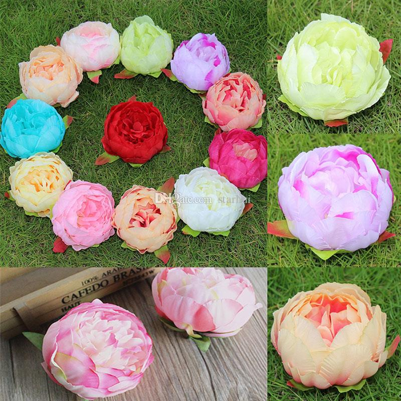 New Artificial Flowers Silk Peony Flower Heads Wedding Party Decoration Supplies Simulation Fake Flower Head Home Decorations 12cm WX-C04