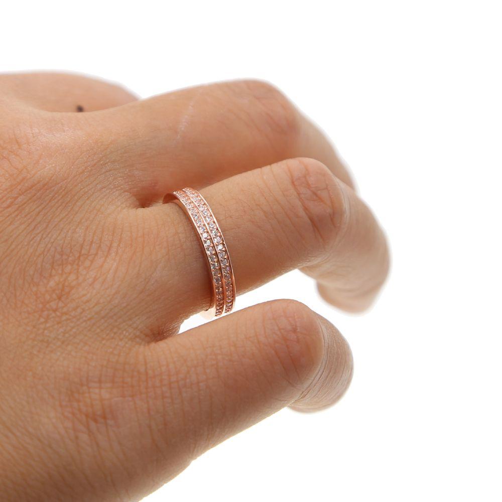 2 Colores 925 Sterling Silver Anillo Dedo gotas Apilables clásico para mujeres que