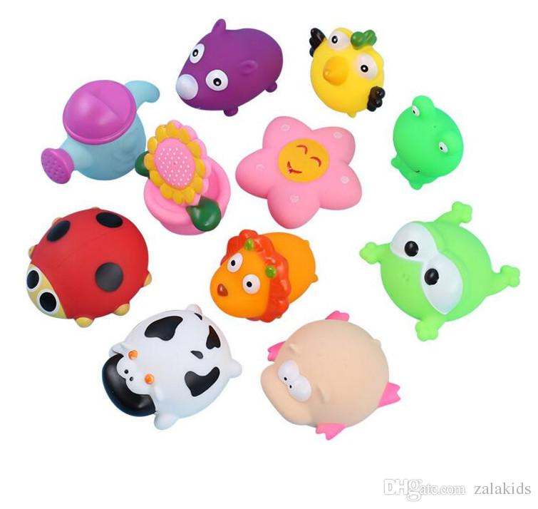 Animali Swimming Water Toys Baby Shower Bath Toys Variopinto Soft Blotty Gomma Squeeze Sound Squeaky Bathy Giocattolo per Bambino
