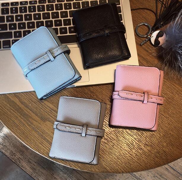 2018 nueva versión coreana monedero pequeño femenino corto OL moda carpeta suave simple Mini Monedero billetera de tres veces Billetera de mujer