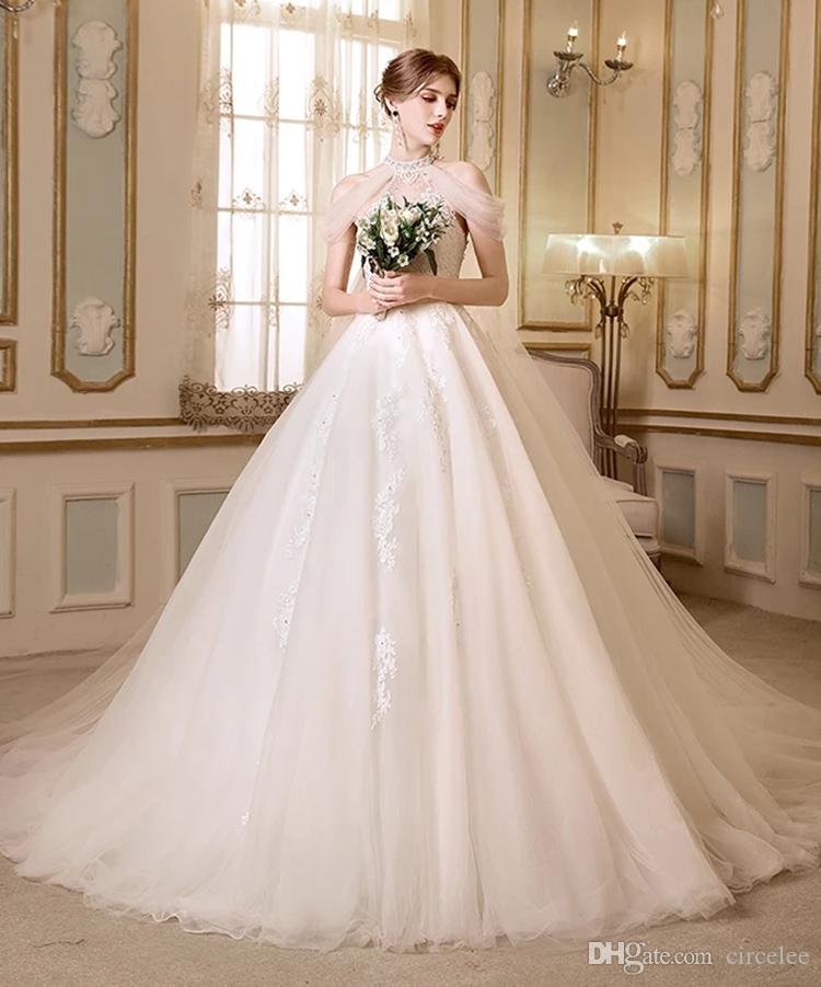 Halter Neck Cowl Back Embroidery Beading Ball Gown Bride Wedding Dress All Color And Size Can Be Allowed