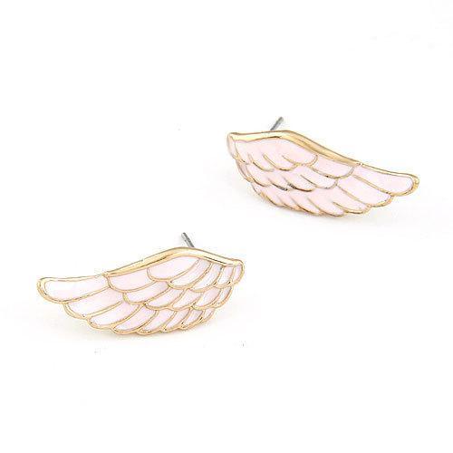 Corea del temperamento moda dulce pluma ala personalidad pendientes de uñas del oído mujer