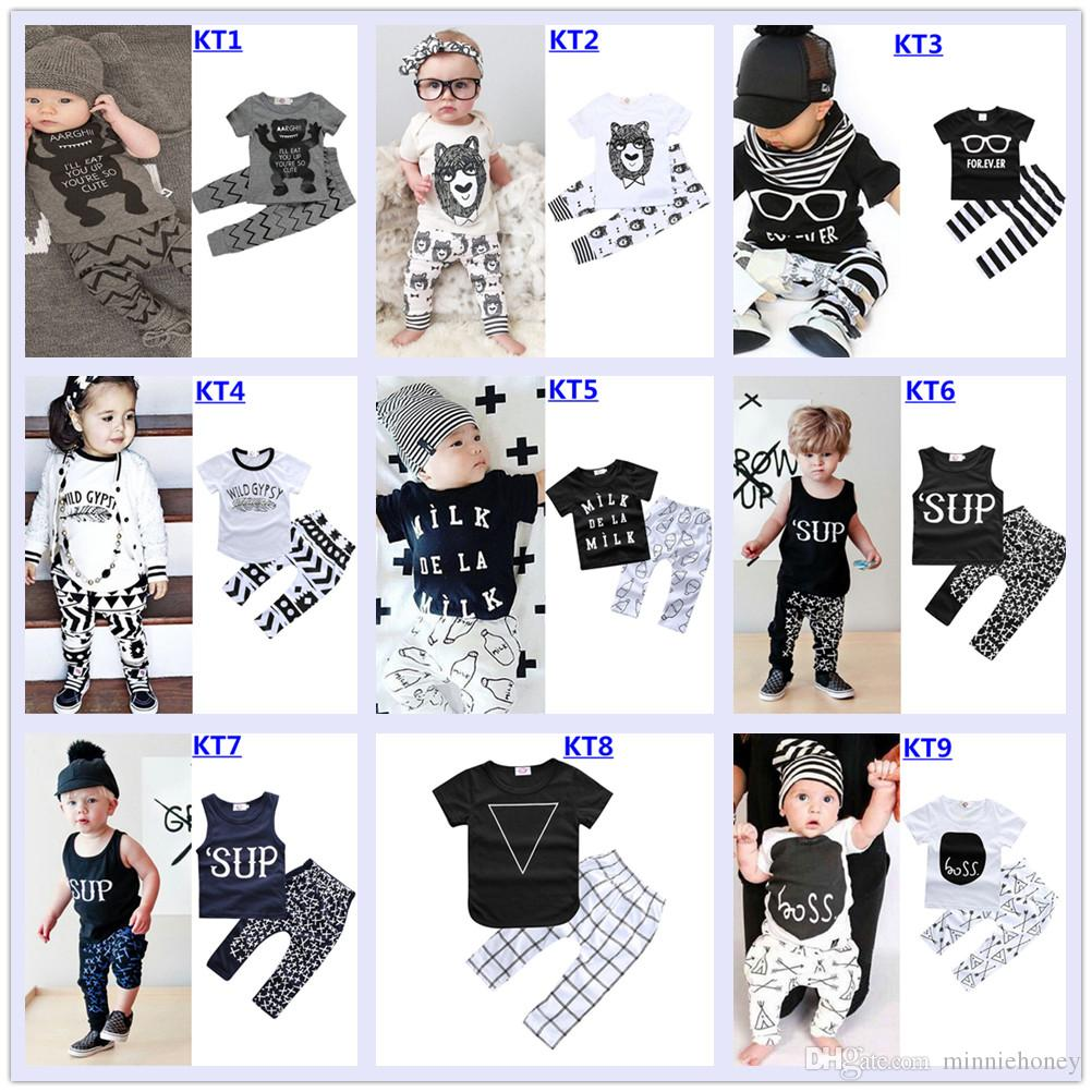 2018 Baby Boy Girl Clothes Fashion Baby Clothing Set Printed Letter Short Sleeve T-Shirt Tops+Pants Baby Outfit 0-2 Years 27 Design